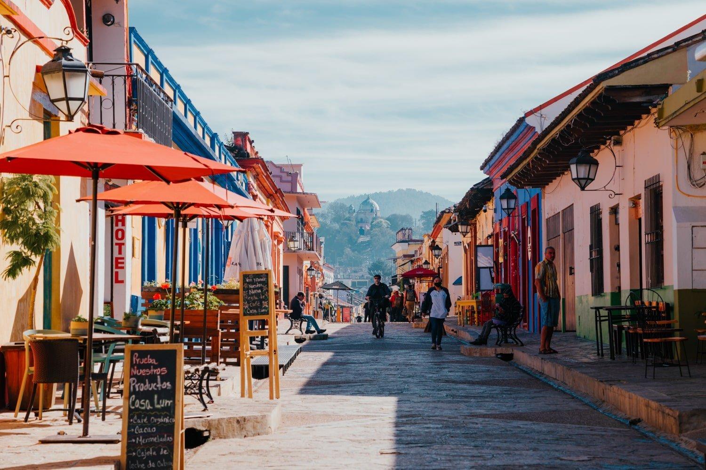 colorful Real de Guadalupe pedestrian street in San Cristobal de Las Casas, Mexico