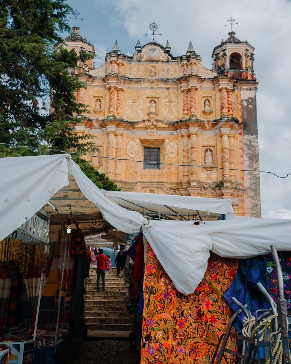 santo domingo church with indigenous market