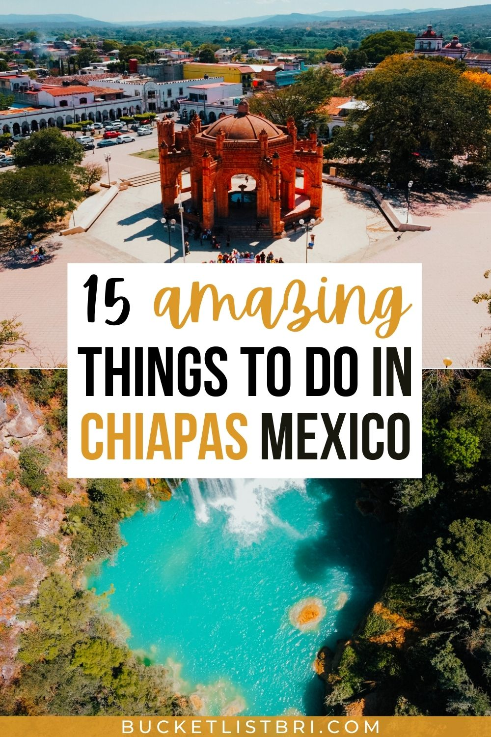 drone photos of chiapa de corzo and el chilfon waterfalls in chiapas, mexico with text overlay