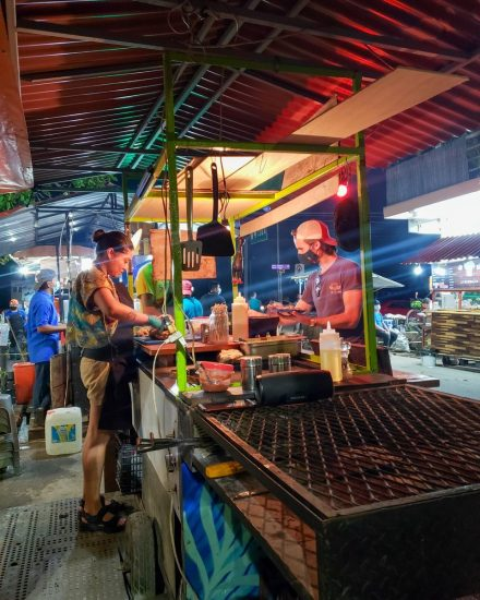 night street food market in tulum mexico