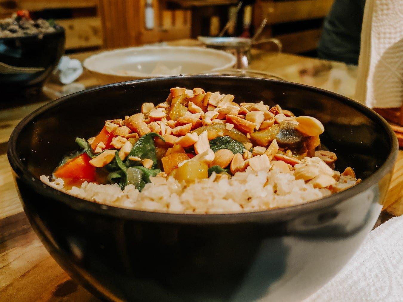 vegan curry bowl at bek semilla de vida restaurant in san cristobal de las casas, chiapas mexico