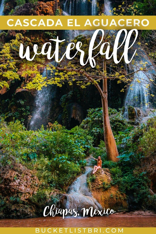 cascada el aguacero photo with text overlay