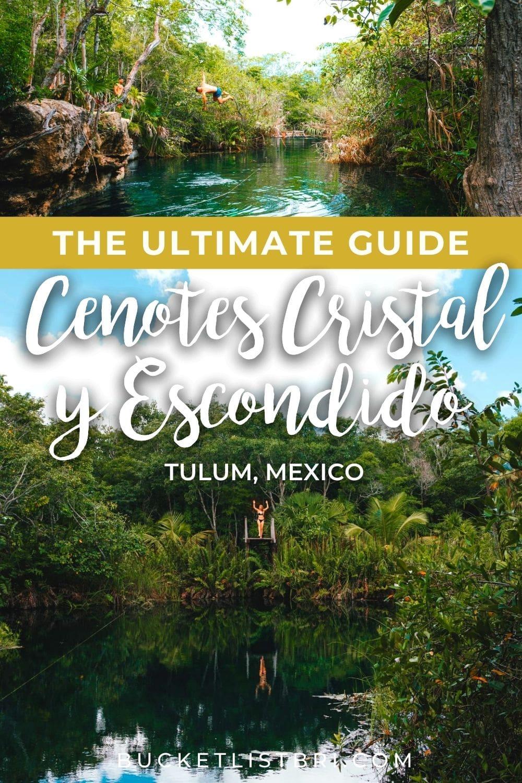 cenotes cristal y escondido photos with text overlay