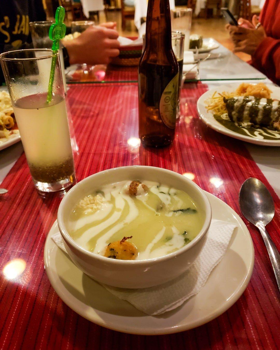 chipilin soup, sopa de chipilin at Las Pichanchas restaurant in San Cristobal de las Casas