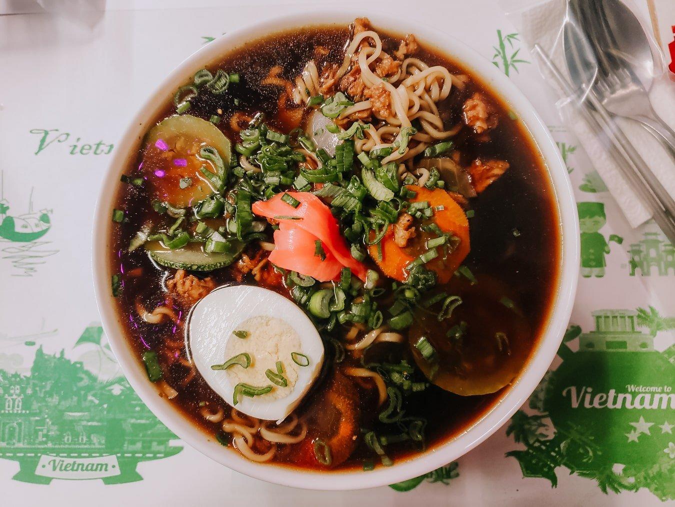 bowl of vietnamese pho and ramen at Just PHO You restaurant in San Cristobal de las Casas Mexico