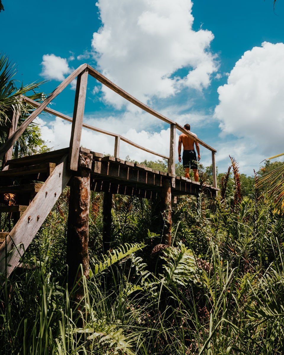 wooden dock at cenote cristal