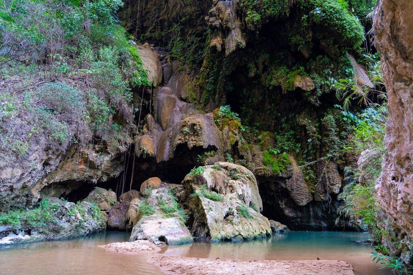 blue swimming hole at el aguacero inside rio la venta canyon river